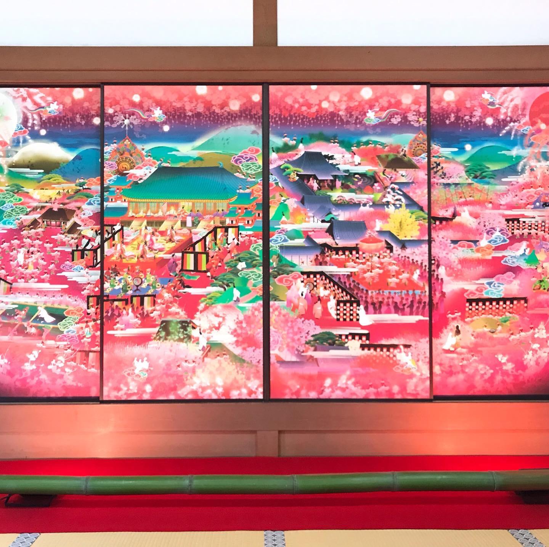 ピンクの襖絵が美しすぎる!随心院の極彩色梅匂小町絵図